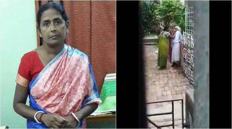 elderly woman abused, elderly woman tortured, daughter in law torture old woman, kolkata daughter in law beat mother in law, viral video, kolkata police, india news, bengal news, indian express