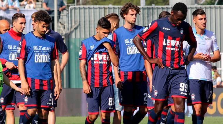 Crotone players walk off the field at the end of the Serie A soccer match  between c0a968eb8e164