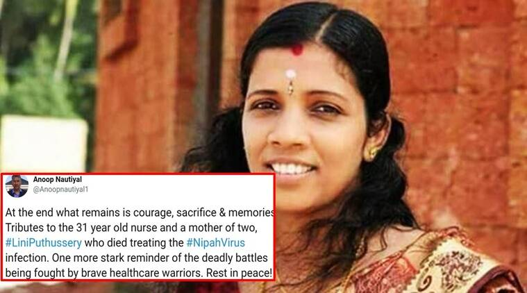 nipah virus outbreak, nipah virus, lini puthussery, lini puthussery nurse, lini puthussery nurse Nipah, Lini Puthussery tribute, Twitter reactions, Indian express, Indian express News