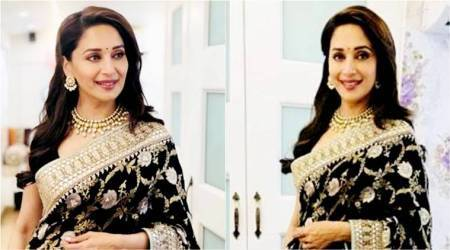 Madhuri Dixit Nene in this floral Anita Dongre sari is a picture of pure elegance andbeauty