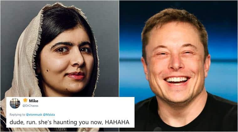 Malala Yousafzai, elon musk, tesla car in space, Malala Yousafzai elon musk twitter chat, tesla car crashes malala, funny news, odd news, bizarre news, indian express
