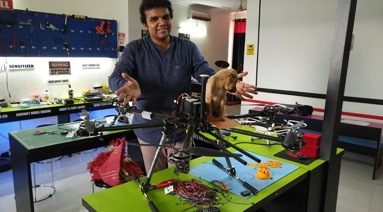 man saves puppy, man makes drone to save puppy, lucknow man saves puppy, lucknow man creates drone to save puppy, indian express, indian express news