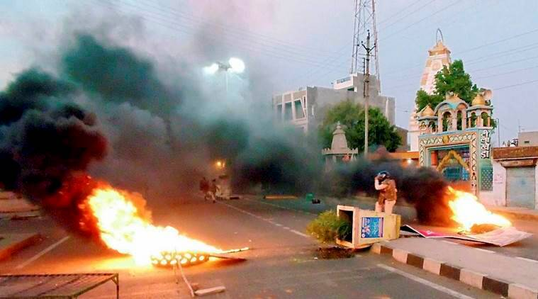 A scene after violent clashes between farmers and the police at Pipliya in Mandsaur district of Madhya Pradesh last year.