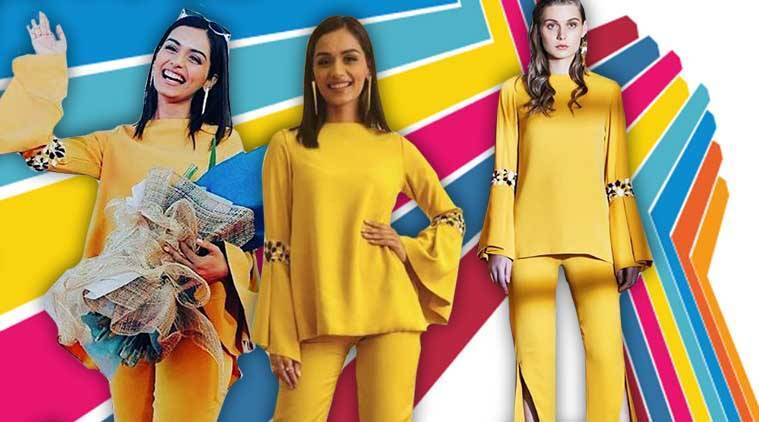 Manushi Chhillar, Manushi Chhillar latest photos, Manushi Chhillar fashion, Manushi Chhillar Mr World event, Manushi Chhillar Shivani Awasty, Manushi Chhillar pantsuits, Manushi Chhillar yellow outfits, indian express, indian express news