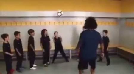 WATCH: Marcelo replicates header challenge with son Enzo's teammates