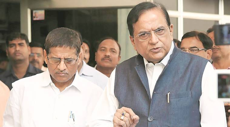 BSP's Sathish Chandra Mishra and Lalji Verma after meeting the chief minister, in Lucknow on Friday. (Vishal Srivastav)
