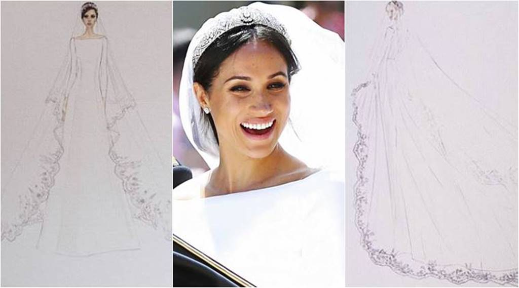 Kensington Palace Releases Sketches Of Meghan Markle S Wedding Dress A Closer Look At The Details Lifestyle News The Indian Express