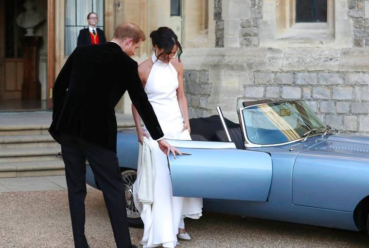 Royal Wedding, Royal Wedding reception, Meghan Markle prince harry reception, Meghan Markle latest photos, Meghan Markle dress Stella McCartney, Meghan Markle reception dress designer, indian express, indian express news