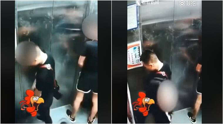 men peeing in elevator, peeing buddies video viral men peeing in elevator viral, men peeing in elevator with woman watching video viral, men in