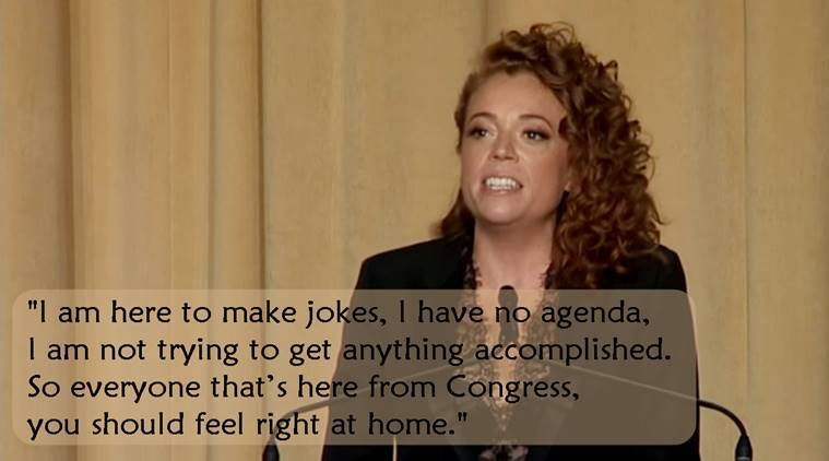 Michelle Wolf, Michelle Wolf trump dinner video, Michelle Wolf speech at Trump Dinner, White House correspondents' dinner, viral video, viral video trump, indian express, indian express news