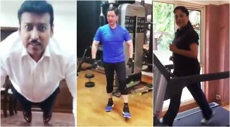fitness challenge, rajyavardhan rathore fitness challenge, rathore fitness challenge virat Kohli Hrithik Roshan, Narendra Modi fitness challenge, Virat Kohli Narendra Modi fitness challenge, Ministers who took the fitness challenge, Indian express,Indian express News