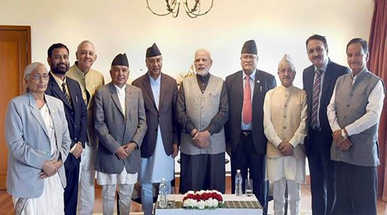 PM Modes during a call by the President of the Nepalese Congress and former Nepalese Prime Minister Sher Bahadur Deuba and other members of the Nepali Congress, in Kathmandu, on Saturday. (PTI)