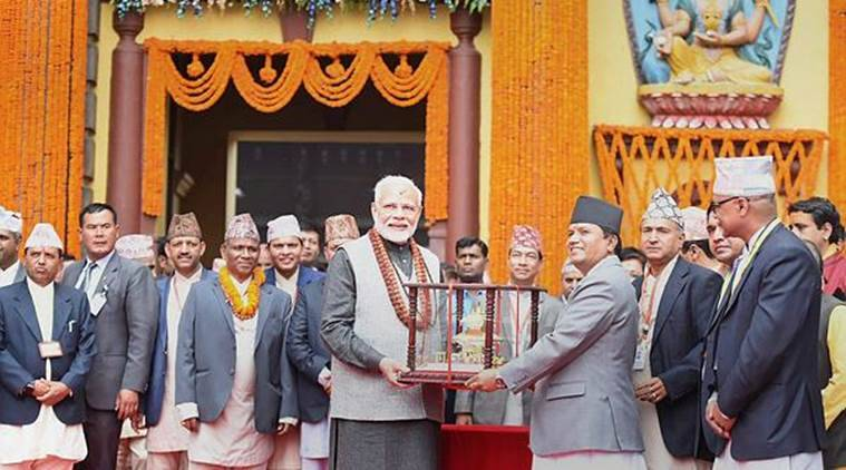PM Modes at the Pashupatinath Temple in Kathmandu on Saturday. (PTI)