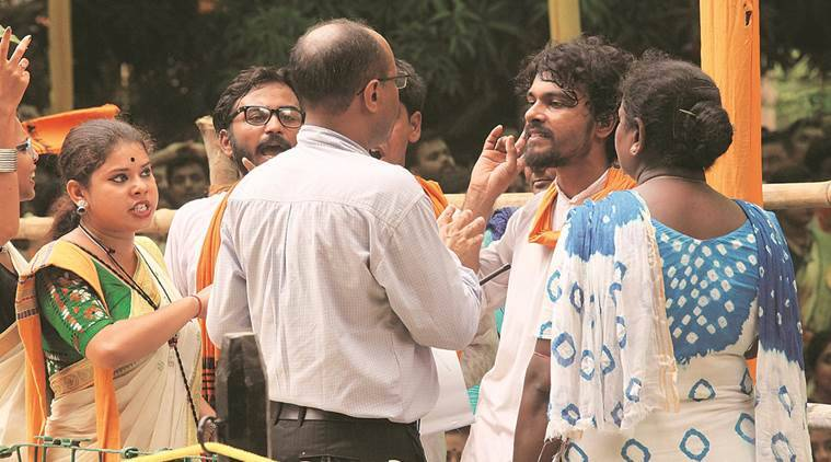 Visva-Bharati students argue with university officials over shortage of drinking water during the institute's 49th convocation on Friday. (Subham Dutta)