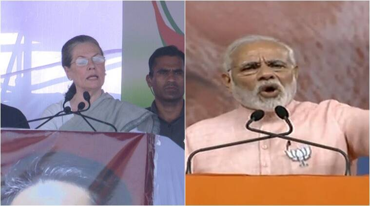 Karnataka elections: Modi's speeches 'don't fill empty stomachs' says Sonia, PM accuses her and Rahul of destroying Congress to save the 'dynasty'