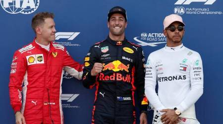 Sebastian Vettel, Daniel Ricciardo and Lewis Hamilton at Monaco Grand Prix