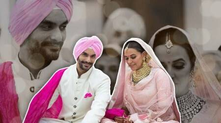 Neha Dhupia-Angad Bedi wedding: The actor makes for a gorgeous Punjabi bride in a pastel pink Anita Dongre lehenga