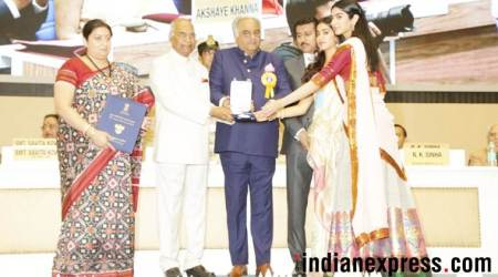 Boney, Khushi and Janhvi Kapoor accept Sridevi's National Film Award