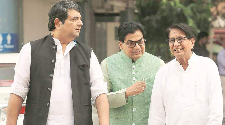 (From left) Congress leader R P N Singh, SP's Ram Gopal Yadav and RLD's Ajit Singh after meeting EC officials. (Express photo/Prem Nath Pandey)