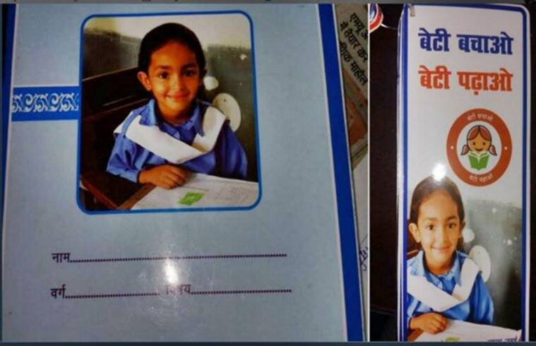 pak girl on booklet cover, bihar, swachh bharat booklet bihar, bihar booklet controversy, pakistan girl photo on bihar booklet, indian express