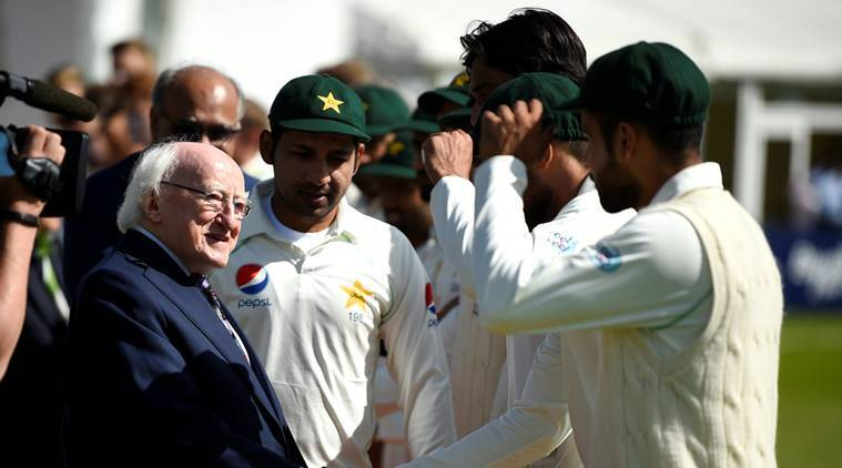 President of Ireland Michael D. Higgins greets the Pakistan Cricket team before play
