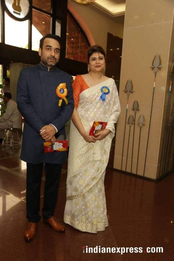 Pankaj Tripathi with his wife at the National Film Awards