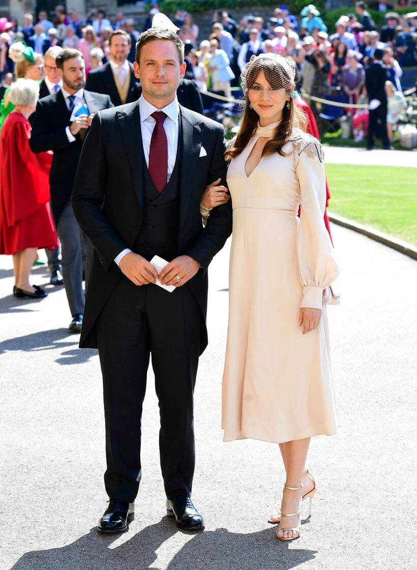 Suits actor Patrick J. Adams and wife Troian Bellisario at meghan markle and prince harry wedding