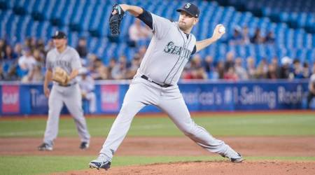 Seattle Mariners pitcher James Paxton throws a pitch in the first inning during a game against the Toronto Blue Jays.