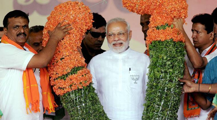 Prime Minister Narendra Modi at a rally in Karnataka