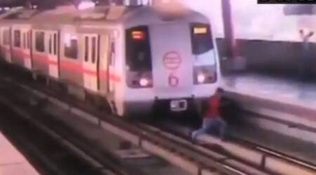Watch: Narrow escape for 21-year-old as he crosses metro tracks