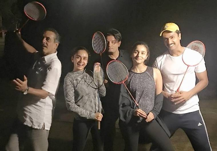 Cast of Raazi playing badminton