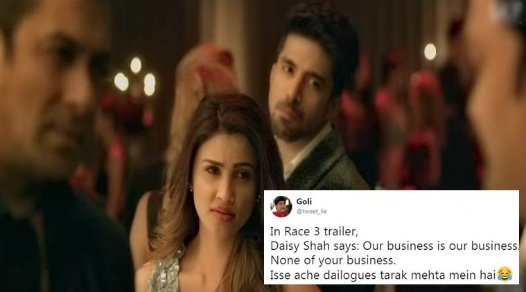 Race 3. Race 3 trailer, Race 3 salman Khan, Race 3 trailer Salman Khan, Salman Khan in Race 3, daisy shah, daisy shah dialogue, Race 3 Twitter reactions, Race 3 Trailer Twitter reactions, Indian Express, Indian Express News