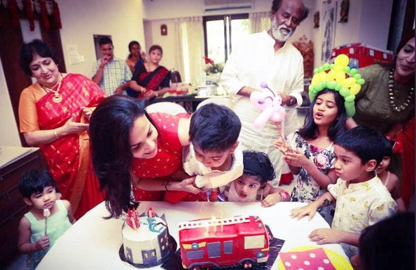 Rajinikanth at grandson ved prakash birthday