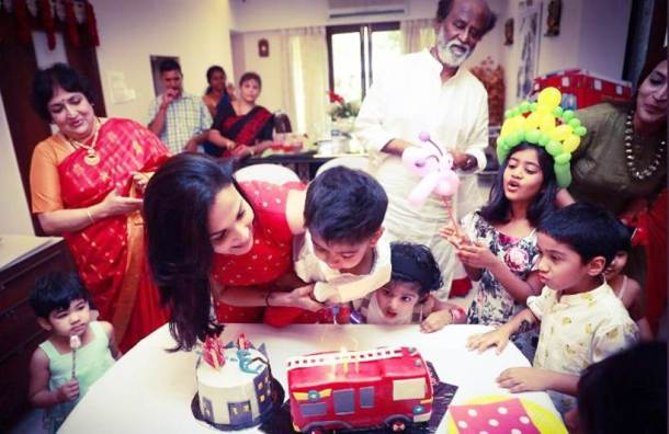 Rajinikanth at grandson ved prakash birthday