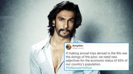 Ranveer Singh, #YoRanveerSoPoor, ranveer not rich enough comment, ranveer says he is not rich, not having enough money comment, ranveer tweet, ranveer interview, ranveer trolls, indian express, indian expess enws