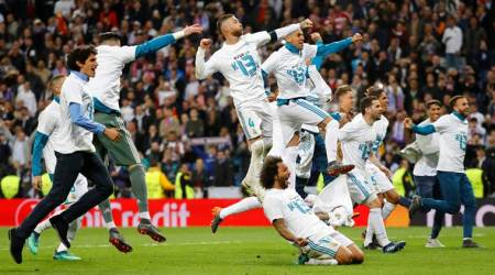Real Madrid celebrate Champions League semifinal victory against Bayern Munich