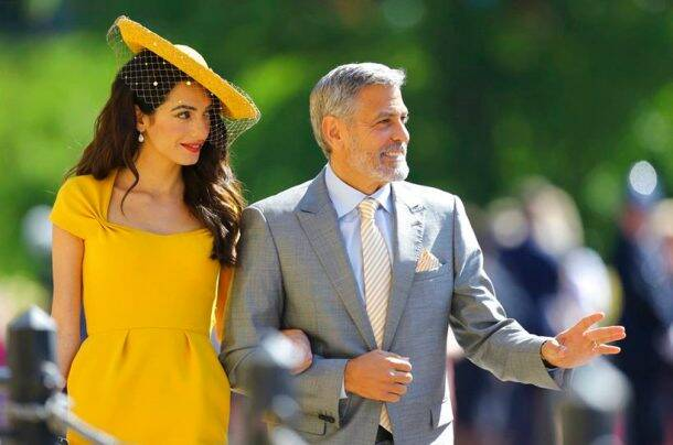 Amal Clooney and George Clooney at royal wedding of meghan markle and prince harry