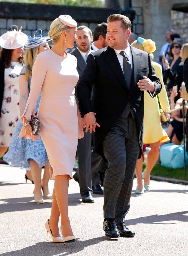 James Corden and his wife Julia Carey at meghan markle and prince harry wedding