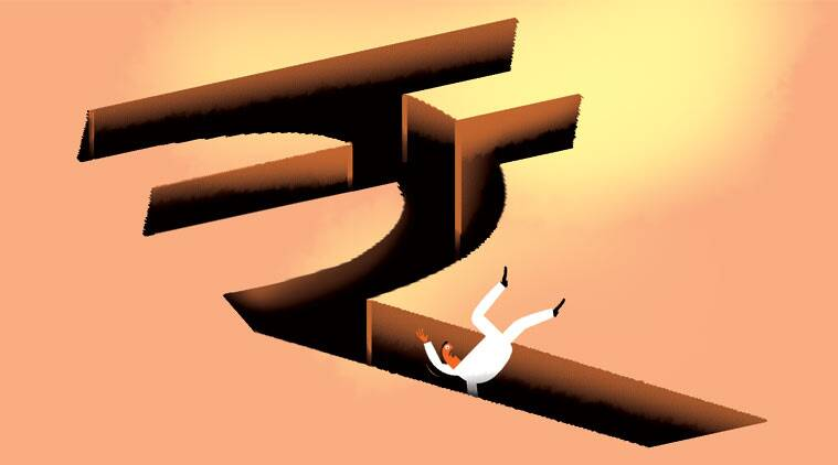 Rupee falls, rupee vs dollar, rupee slips, rupee down by 45 paise, Rupee weakens, Indian rupee, Rupee lifetime low, Indian Economy, Business News, Indian Express