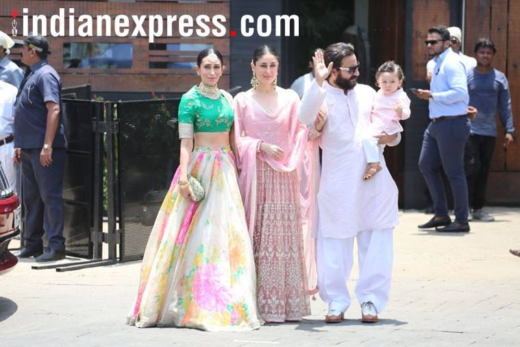 karisma, kareena, saif and taimur at sonam's wedding