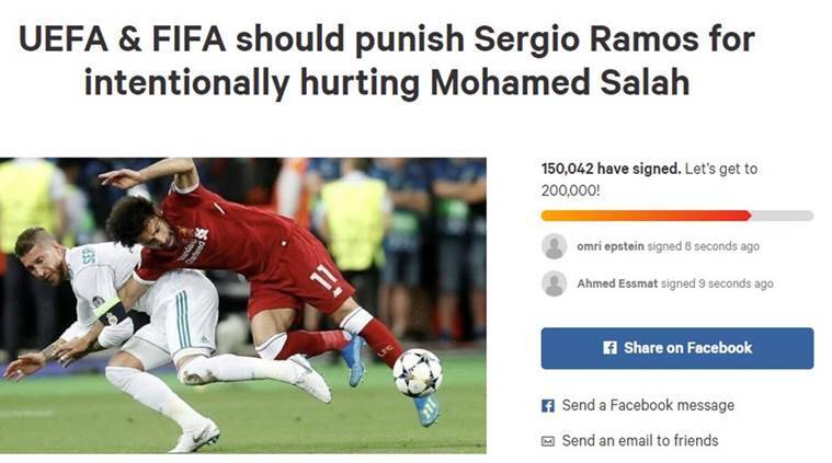 Petition to punish Sergio Ramos for Mohamed Salah injury reaches over 150,000 signatures