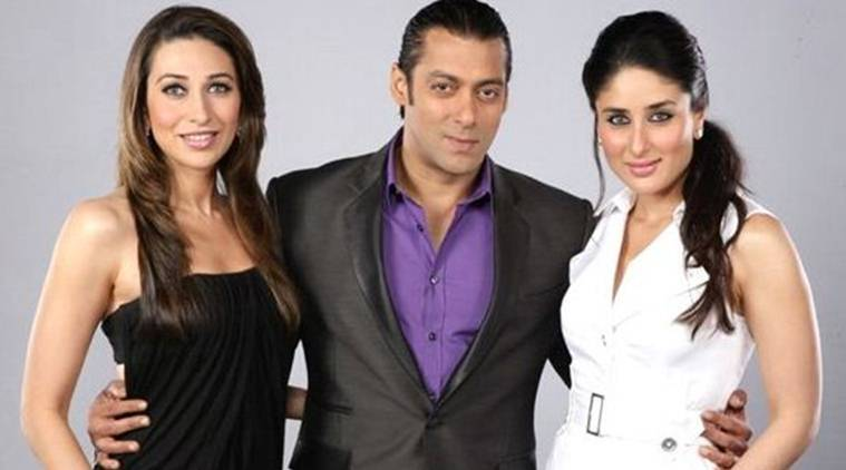 Salman Khan, Karisma Kapoor and Kareena Kapoor Khan