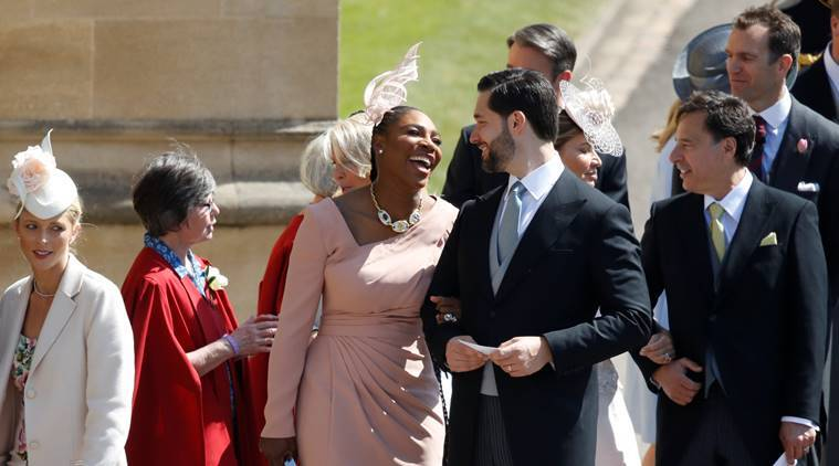 Meghan Markle's friend, US tennis player Serena Williams (CL) and her husband US entrepreneur Alexis Ohanian (CR) arrive for the wedding ceremony of Britain's Prince Harry, Duke of Sussex and US actress Meghan Markle at St George's Chapel, Windsor Castle