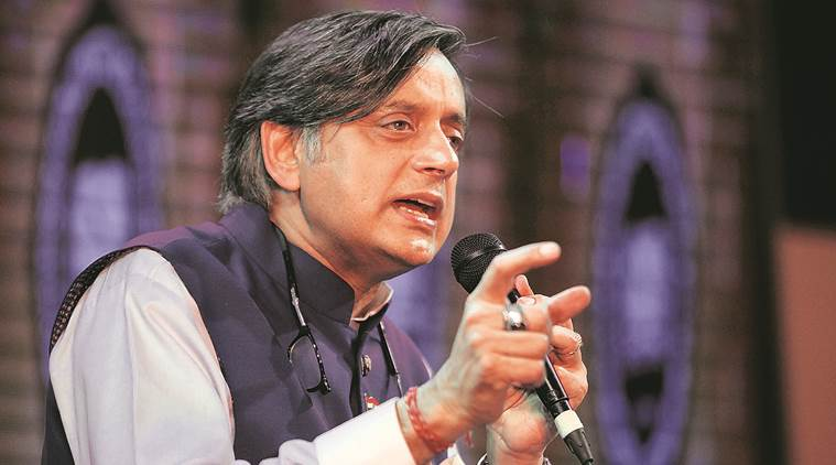 Hindu Pakistan remark: BJYM activists place wreath, pour black oil at Shashi Tharoor's office