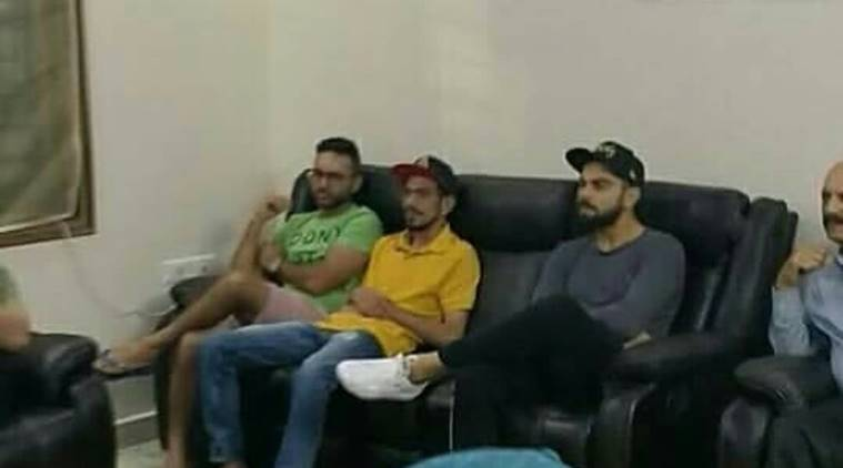 Virat Kohli, Parthiv Patel and Yuzvendra Chahal at Mohammed Siraj's house in Hyderabad