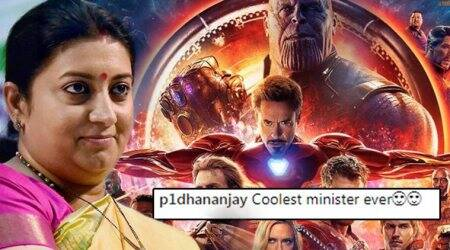 Smriti Irani waits for the 'Avengers: Infinity War' post credit scene; Netizens call her the 'coolest minister'