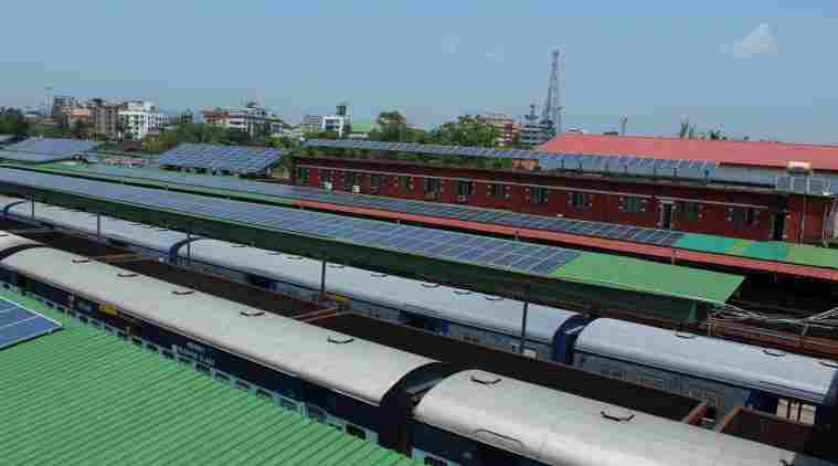 Guwahati railway station, solar power panels at the guwahati railway station, solar energy guwahati