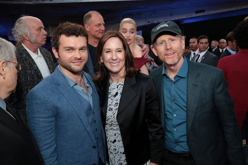 Alden Enrenreich, Kathleen Kennedy and Ron Howard at solo a star wars story premiere