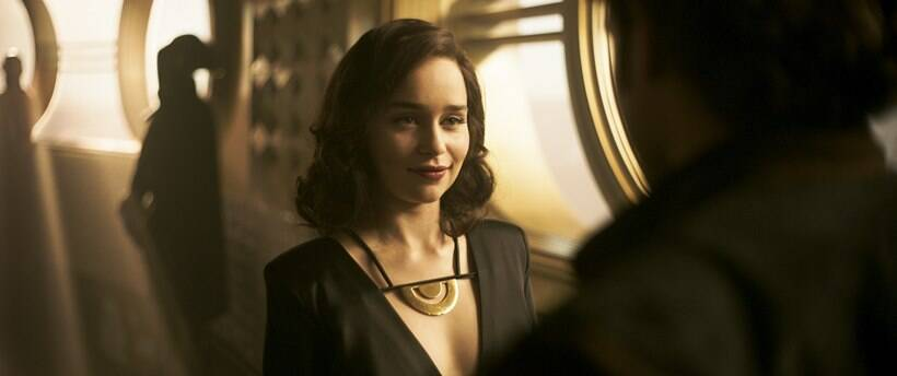 Emilia Clarke is Qi'ra and Alden Ehrenreich is Han Solo in SOLO: A STAR WARS STORY.