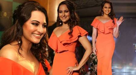 Sonakshi Sinha proves orange is still the new black in this ruffle bodycon gown